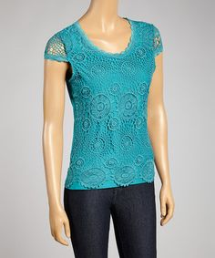 Look what I found on #zulily! Blue Lake Crochet Cap-Sleeve Top #zulilyfinds
