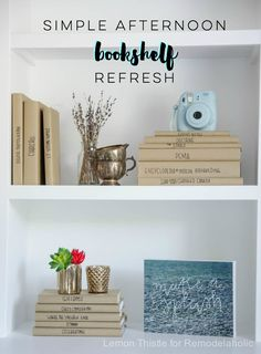 Afternoon Bookshelf Refresh with DIY Paper Book Covers (Remodelaholic) Home Decor Hacks, Cheap Home Decor, Diy Home Decor, Decor Ideas, Diy Ideas, Paper Book Covers, Modern Kids Bedroom, Blogger Home, Diy Cans