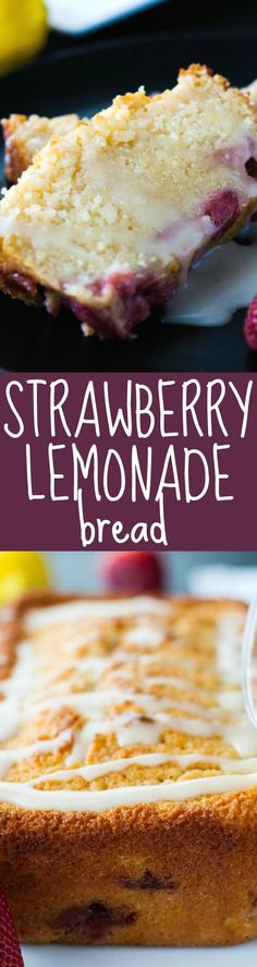 Strawberry Lemonade Bread is a moist and sweet quickbread topped with mouth-watering lemon glaze. | strawmarysmith.com