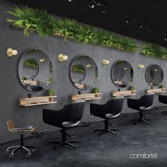 The New Black Salon Look. Our salon furniture collections will give you inspiration on how to achieve the perfect salon interior design. Barber Shop Interior, Barber Shop Decor, Hair Salon Interior, Beauty Room Salon, Beauty Salon Design, Beauty Bar, Hair Beauty, Home Hair Salons, Home Salon