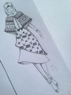 Hijab fashion sketch with batik motifs inspired by aztec tribal motifs Dress Design Drawing, Dress Design Sketches, Fashion Design Sketchbook, Fashion Design Drawings, Fashion Sketches, Fashion Drawing Dresses, Fashion Illustration Dresses, Fashion Illustration Tutorial, Motif Simple
