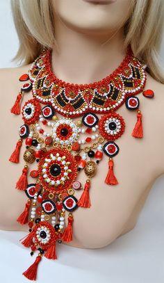 """Купить Комплект """"Агния"""" - ярко-красный, яркое украшение, комплект украшений, этно, этно украшения"""