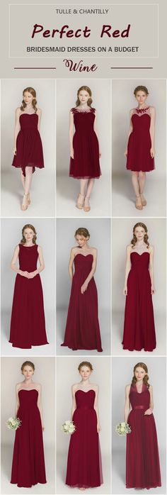 wine short and long bridesmaid dresses from tulle and chantilly