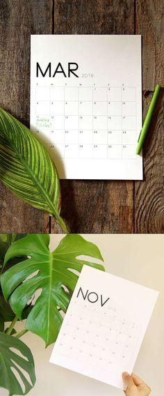 Grab a printable 2018 calendar
