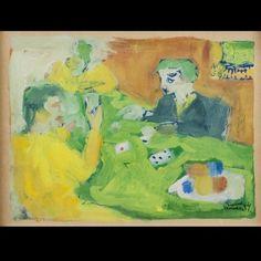 Fikret MOUALLA (1903-1967) : La partie de cartes, 1954.