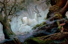 """White Stag"" Art by Ruth Sanderson, an award-winning illustrator of fantasy & fairy tale art"