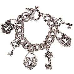 @Overstock - This charming bracelet from Sweet Romance is adorned with six French-style padlocks and vintage keys dangling from a flat, double curb chain. A classic toggle closure finishes this antiqued pewter bracelet with easy-to-wear style.http://www.overstock.com/Jewelry-Watches/Sweet-Romance-Pewter-Locks-and-Keys-Charm-Bracelet/6980788/product.html?CID=214117 $39.59