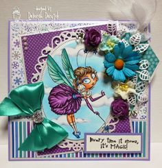 """Card featuring  """"Snowbal fairy"""" from Kraftin' Kimmie Stamps. Made by Deborah Deruyck"""