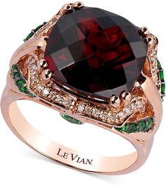 Le Vian Rhodolite Garnet (8 ct. t.w.), Tsavorite (3/8 ct. t.w.) and Diamond (1/8 ct. t.w.) Ring in 14k Strawberry® Rose Gold