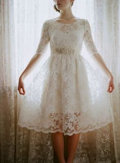 Leanne Marshall Short Lace Wedding Dress