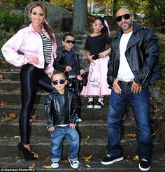 Family fun: Melisa and Joe with children Gino, Joey and Antonia are shown in New Jersey dressed for Halloween in October 2013 Grease Halloween Costumes, Couple Halloween, Baby Halloween, Halloween 2017, Holidays Halloween, Grease Costumes For Kids, Halloween Customs, Greese Costumes, Dyi Costume