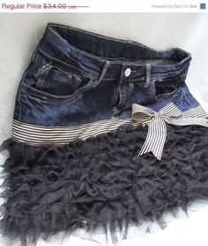 June End SALE  20 OFF DENIM Skirt Ruffled Tulle Boho by pinkpurse, $27.20