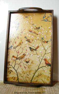 "Кухня ручной работы. Ярмарка Мастеров - ручная работа Поднос ""Весна"". Handmade. Decoupage Wood, Decoupage Tutorial, Decoupage Furniture, Painted Trays, Painted Boxes, Ceramic Painting, Painting On Wood, African Wall Art, Bird Art"