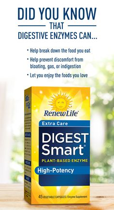 The gut is considered the core of your body's overall health and well-being. A healthy gut can help protect against stomach discomfort, helps you expand energy better and reduce occassional bloating, gas, and indigestion. Help prevent occasional gas, bloating, and indigestion with Renew Life® Digest Smart® Plant-Based Enzymes.