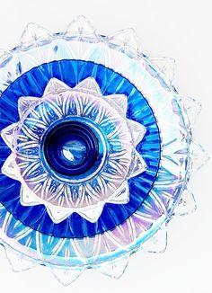 Garden Art Cobalt Blue Glass Plate Flower Yard Stake by jarmfarm