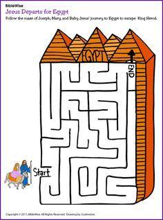 Mary, Joseph and Baby Jesus Go to Egypt (Maze) - Kids Korner - BibleWise Jesus Crafts, Bible Story Crafts, Bible Stories For Kids, Bible Lessons For Kids, Bible For Kids, Kids Sunday School Lessons, Sunday School Crafts, School Fun, Christmas In Egypt