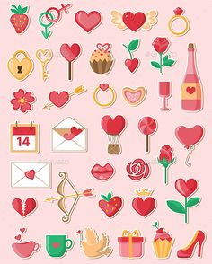 Download Free Graphicriver 	             Valentine Icons in a Flat Style            #arrow #balloon #bottle #cake #calendar #champagne #cherry #cup #dove #envelope #flat #flower #gift #heart #holiday #icon #key #lips #lock #lollipop #pigeon #present #ring #rose #shoe #strawberry #sweet #valentine #vector #wine