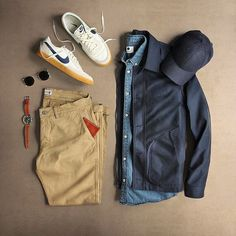 Been a wonderful vacation, back at the grind tomorrow Jacket: Nylon Deck Jacket Glasses: Gold Plated Pants: Marco Khaki Shirt: New Derek Denim Shoes: + Killshot 2 Watch: + Timex + Red Wing Hat: Wallet: Mens Wardrobe Essentials, Men's Wardrobe, Mode Outfits, Fashion Outfits, Fashion Boots, Fashion Clothes, Look Fashion, Mens Fashion, Fashion News
