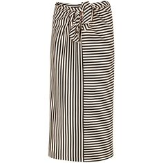 Tibi Ren Stripe Knit Tie Skirt ($192) ❤ liked on Polyvore featuring skirts, black and white stripe, black white skirt, knit skirt, tie skirt, striped knit skirt and black and white stripe skirt