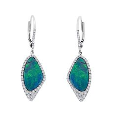 Australian Opal diamond encircled, Meira T earrings set in 14 kt white gold with blue color radiating from the sparkle of the surrounding diamonds
