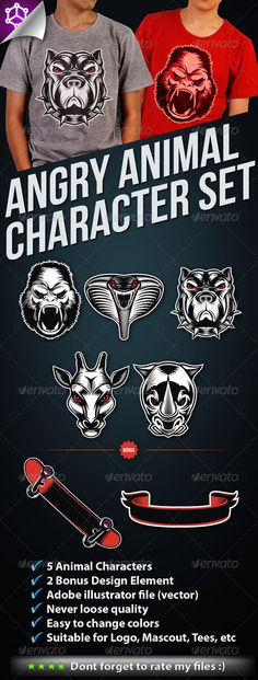 5 Angry Animal Character Set — Vector EPS #ape #wild • Available here → https://graphicriver.net/item/5-angry-animal-character-set/2379736?ref=pxcr