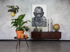 Display Culture --- 'Juju' sideboard by Dutchbone. Large black and white portrait photo.