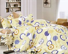 Lenjerie de pat 100% bumbac satinat Pucioasa crem cu cercuri Comforters, Satin, Blanket, Bed, Home, Stream Bed, House, Elastic Satin, Ad Home