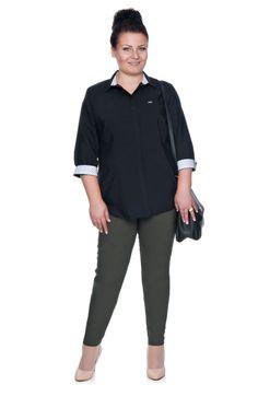 Elegancka czarna bluzka koszulowa z plisą - Modne Duże Rozmiary