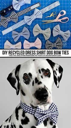 Old dress shirt cuffs recycled into DIY dog bow ties (and button placket collar bands). Doggone dapper indeed! Diy Dog Collar, Cat Collars, Diy Dog Toys, Dog Bows, Dog Bow Ties, Cat Bow Tie, Dog Clothes Patterns, Dog Crafts, Dog Pattern