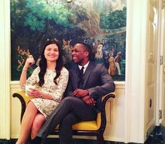Philippa Soo and Leslie Odom Jr. at the White House