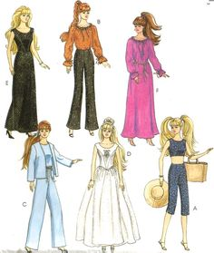 "BARBIE DOLL CLOTHES Sewing Pattern - 11-1/2"" Fashion Dolls Retired"
