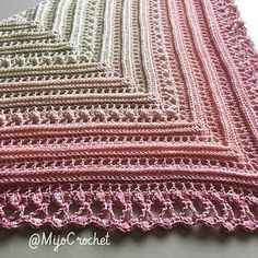 This shawl can be made of any type of yarn and suitable hook.