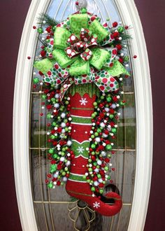Christmas Wreath Door Wreath Teardrop by AnExtraordinaryGift (sold but has similar ones in her etsy shop) - love the bow!: