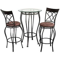 @Overstock - Carve out your own space anywhere with this quaint bistro dining set. Small enough to be set up in a porch, a terrace, or right next to your bedroom windows, this will allow you to sip your coffee reflectively or power up with a quick snack anytime.http://www.overstock.com/Home-Garden/Fancy-Bistro-Dining-Set/2918635/product.html?CID=214117 $234.99