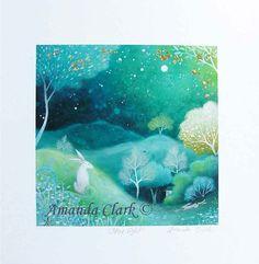 Sonderausgabe Kunstdruck mit Blattgold.  Sternenlicht. Von