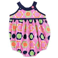 Chez Ami by Patsy Aiken Designs Sleeveless One Piece Knit Bubble Romper Peony Floral Print Girls Sizes 3M-3