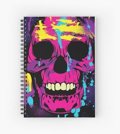 notebook Colorful Skull with Paint Splatters and Drips by Denis Marsili - DDTK