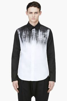 DENIS GAGNON Black & White Hand Painted Shirt
