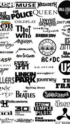 #3 Rockband Logos, Desenhos Halloween, Rock Band Posters, Emo Wallpaper, Music Collage, Classic Rock Bands, Band Wallpapers, Music Aesthetic, Queen Band