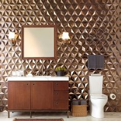 It is very trendy now to use gold bathroom tiles to turn simple bathroom into something very innovative and fashionable Gold Bathroom, Simple Bathroom, Bathroom Sets, Modern Bathroom, Minimalist Bathroom, Terrazzo, Bath Trends, Bronze Mirror, Kitchen And Bath