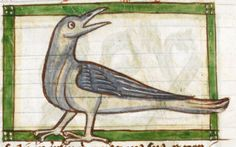 Bird detail from medieval illuminated manuscript, British Library Harley MS 3244, 1236-c 1250, f53r