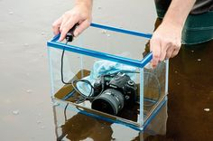 Use a fish tank as an underwater housing for your camera