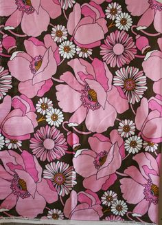"vintage Bevis ""Tatton"" huge pink flower interiors fabric"