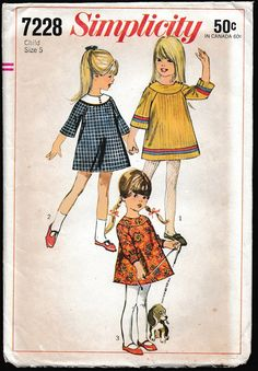 Simplicity 7228 Childs Collarless Dress with Yoke by OutoftheConex