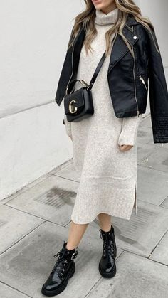 Stylish Winter Outfits, Fall Winter Outfits, Chic Outfits, Autumn Winter Fashion, Leather Jacket Outfits, Cozy Fashion, Looks Style, Mode Style, Everyday Outfits
