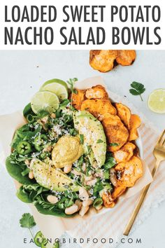These sweet potato nacho salad bowls are perfect when you're craving crispy cheesy nachos but also feel like your body needs some greens. Gluten-free and vegetarian. #sweetpotato #saladeveryday