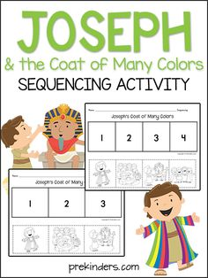 These Joseph activities can be used in Christian Preschool programs and Sunday schools. Joseph & the Coat Sequencing Print these story sequencing cards for children to sequence the story after you read it to them. Preschool Bible Lessons, Bible Crafts For Kids, Bible Study For Kids, Bible Lessons For Kids, Bible Activities, Preschool Activities, Joseph Activities, Religion Activities, Preschool Spanish
