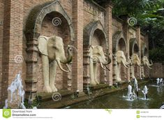 carved brick wall elephants - Google Search Garden Fountains, Brick Wall, Elephants, Mount Rushmore, Carving, Mountains, Google Search, Architecture, Nature
