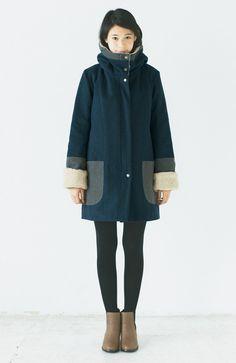 【LOVE・COAT★コート一緒買いキャンペーン】NUSY もこもこ衿がかわいい 配色ボアコート | フェリシモ