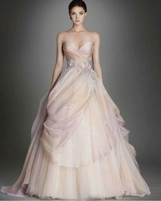 Stunning Lazaro blush dress with sweetheart neckline and A Line fall.